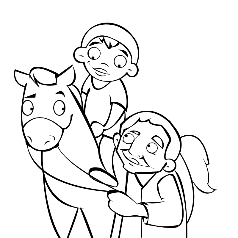 NIÑO MONTANDO UN CABALLO Colouring Pages