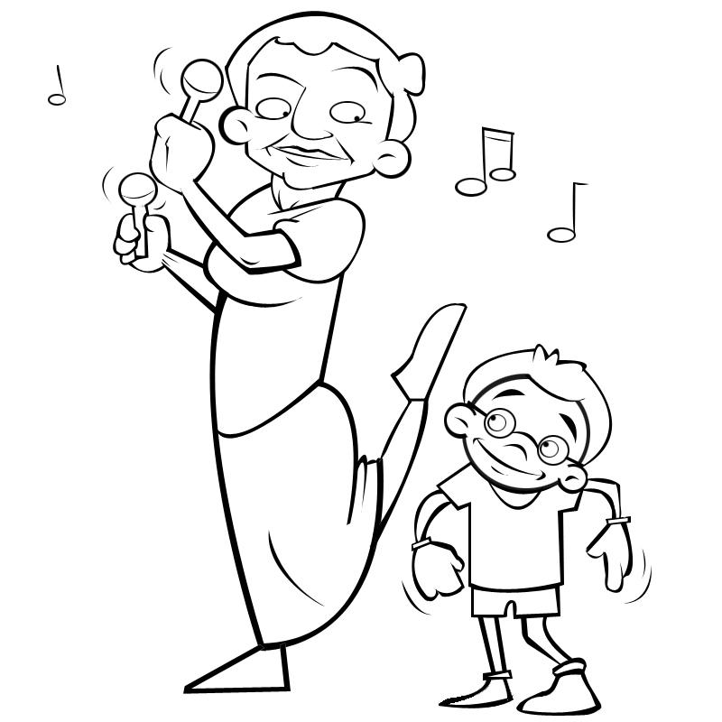 Dibujos con niños: Colorear abuela bailando con su nieto